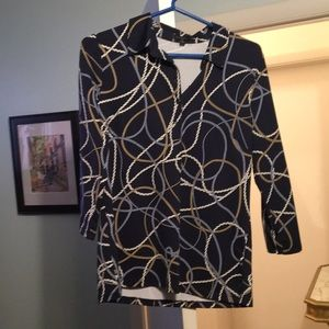Dark blue patterned blouse
